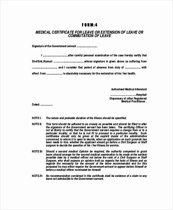 Doctor Certificate for Sick Leave Template Unique Medical Certificate format for Sick Leave