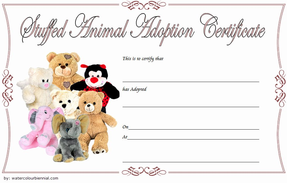 Dog Adoption Certificate Template Awesome 7 Stuffed Animal Adoption Certificate Editable Templates