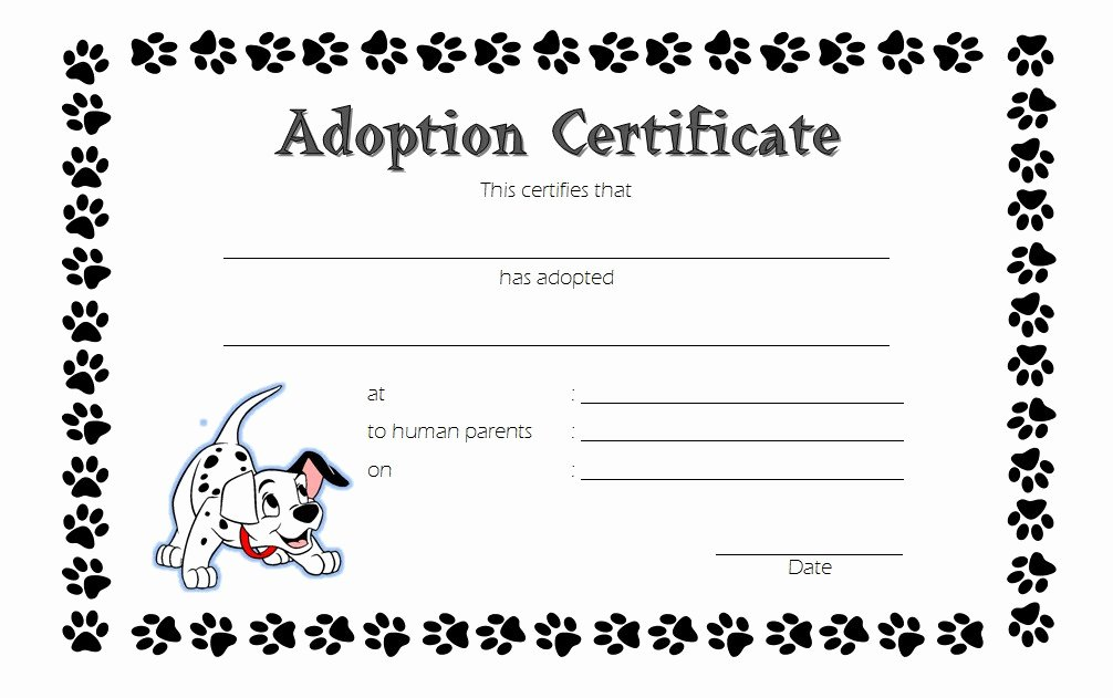 Dog Adoption Certificate Template Awesome Dog Adoption Certificate Template 3
