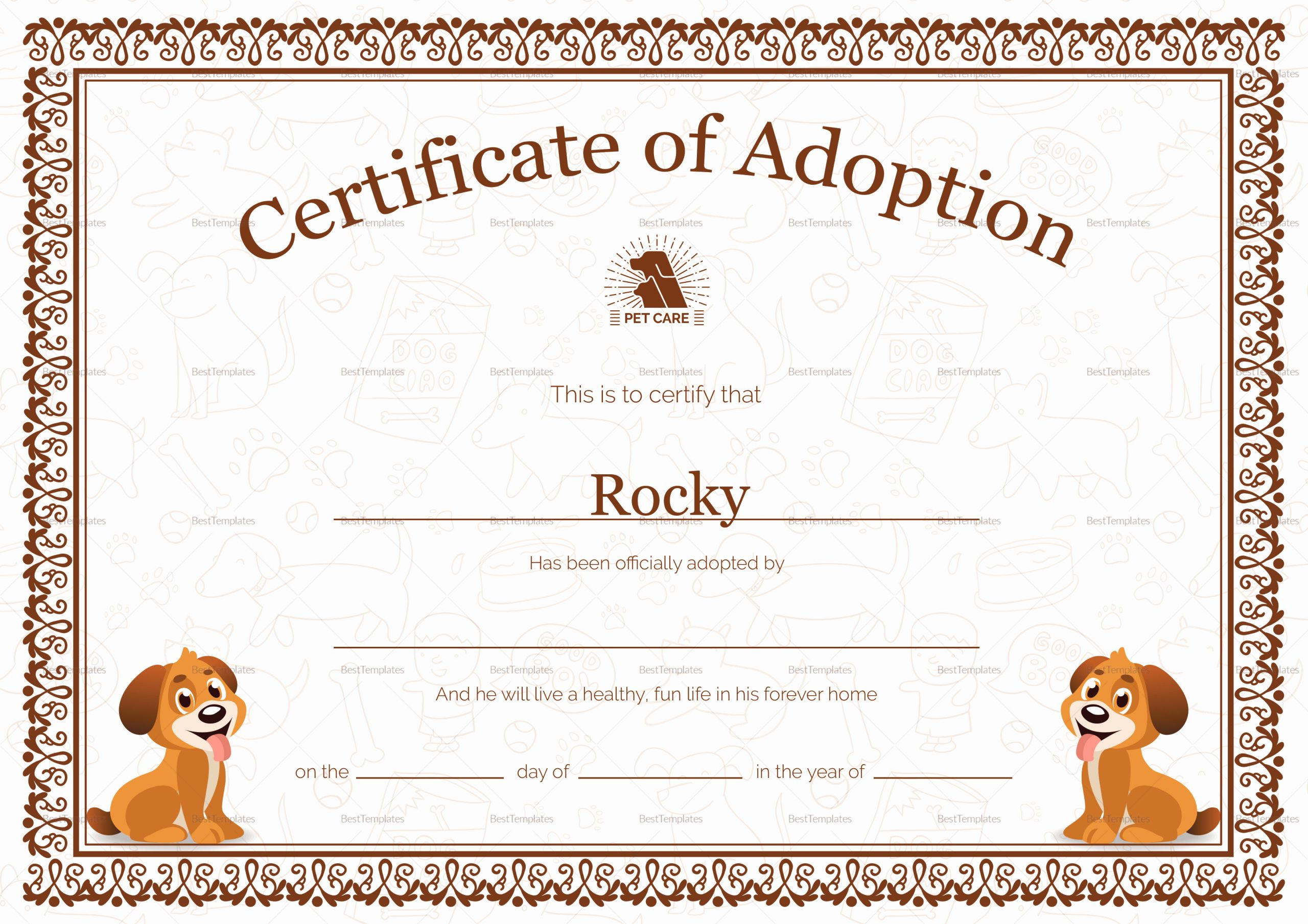 Dog Adoption Certificate Template Beautiful Pet Adoption Certificate Design Template In Psd Word