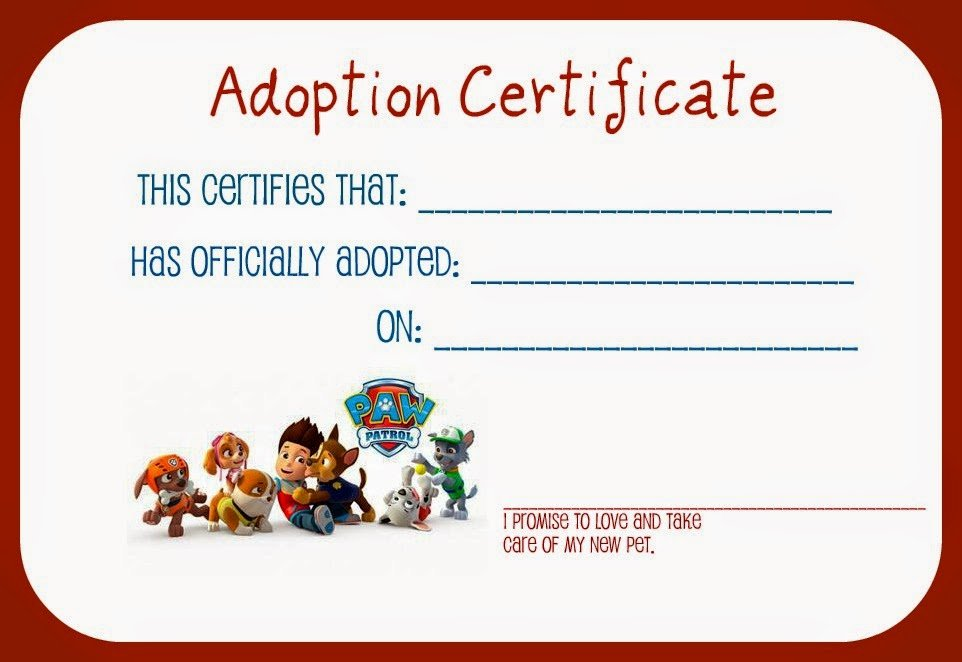 Dog Adoption Certificate Template Elegant Parenting Uncensored Paw Patrol is On A Roll Liam S 4th