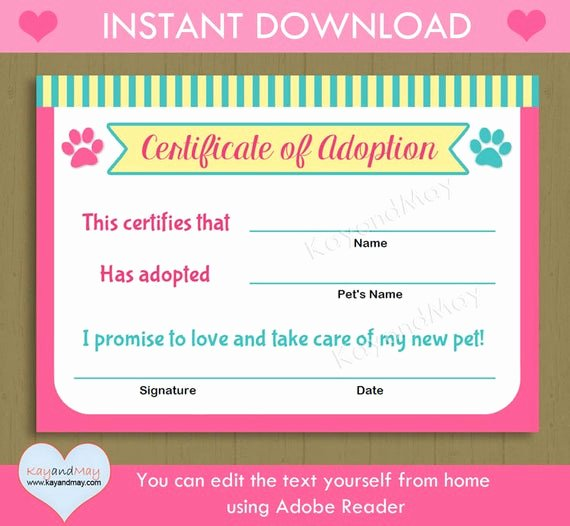 Dog Adoption Certificate Template Free Awesome Printable Pet Adoption Certificate Animal theme Party Cat Dog