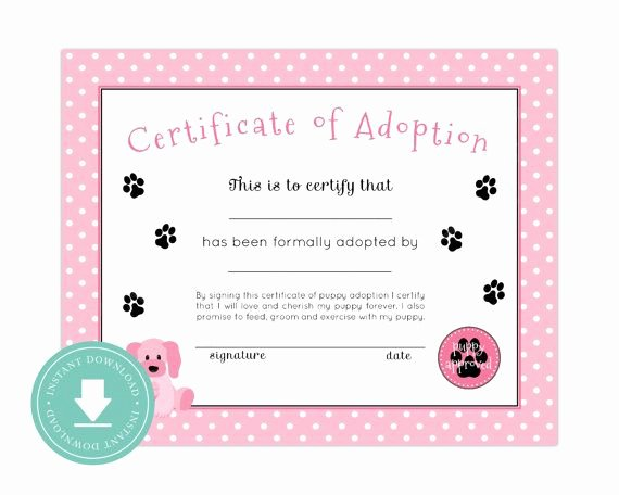 Dog Adoption Certificate Template Free Best Of Instant Download Puppy Adoption Certificate Puppy