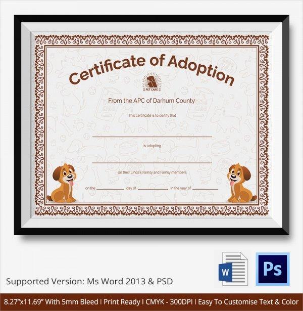 Dog Adoption Certificate Template Free Fresh 26 Sample Adoption Certificates In Illustrator