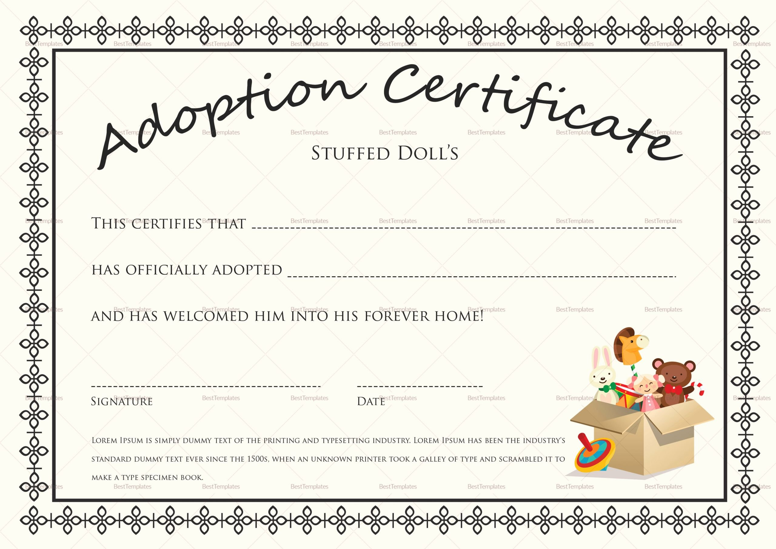 Dog Adoption Certificate Template Free Fresh Doll Adoption Certificate Design Template In Psd Word