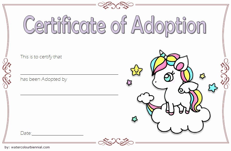 Dog Adoption Certificate Template Free Fresh Unicorn Adoption Certificate Templates [7 Wonderful