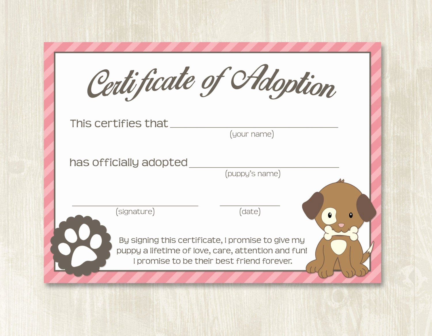 Dog Adoption Certificate Template Free Inspirational Puppy Party Adoption Certificates Instant Download