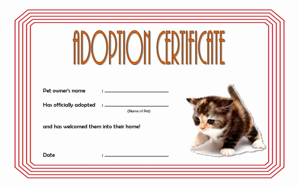 Dog Adoption Certificate Template Lovely Pet Adoption Certificate Editable Templates