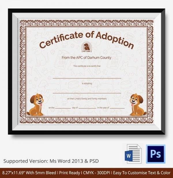 Dog Adoption Certificate Template Luxury Adoption Certificate Template 12 Free Pdf Psd format
