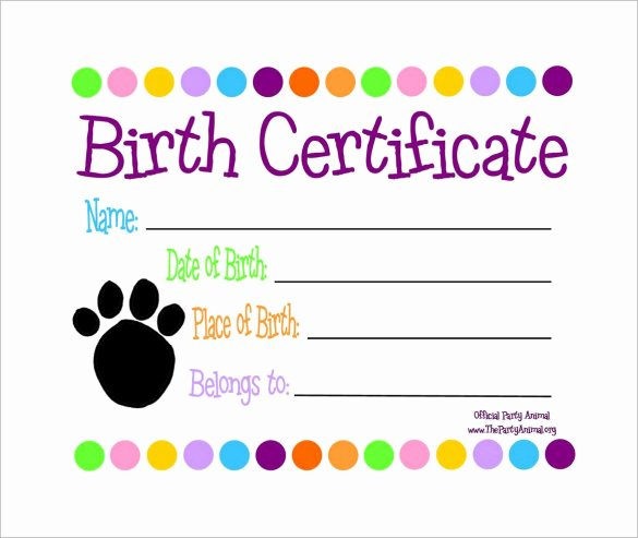 Dog Birth Certificate Template Free Beautiful Free 17 Birth Certificate Templates In Illustrator