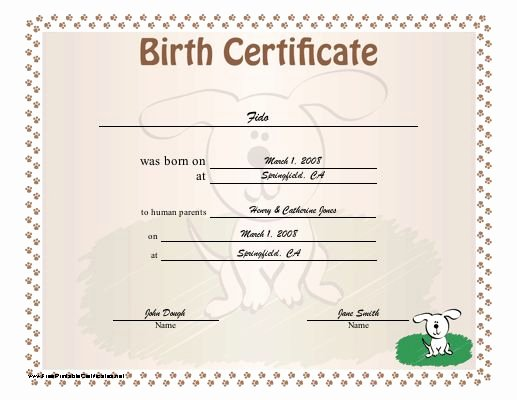 Dog Birth Certificate Template Free Best Of A Dog Birth Certificate for A Puppy or Little Of Puppies