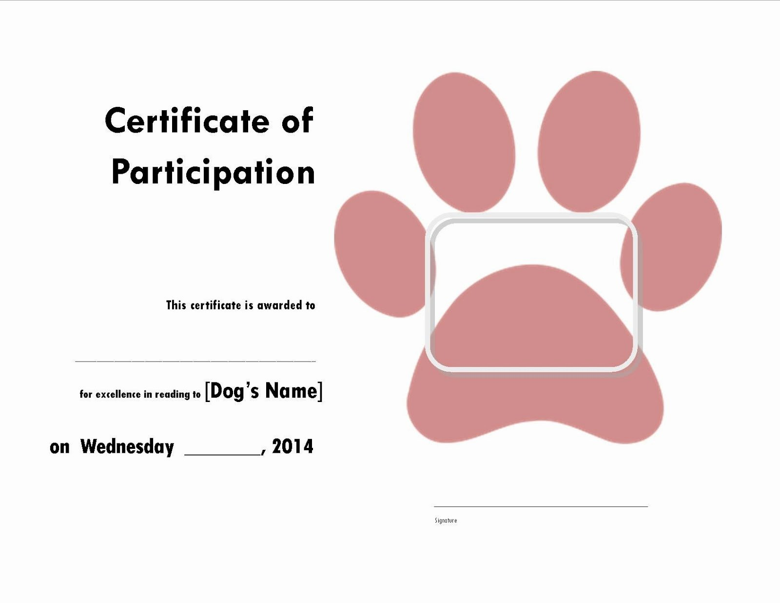 Dog Birth Certificate Template Free Elegant with Kiddos the Library Read to the Dogs Certificate
