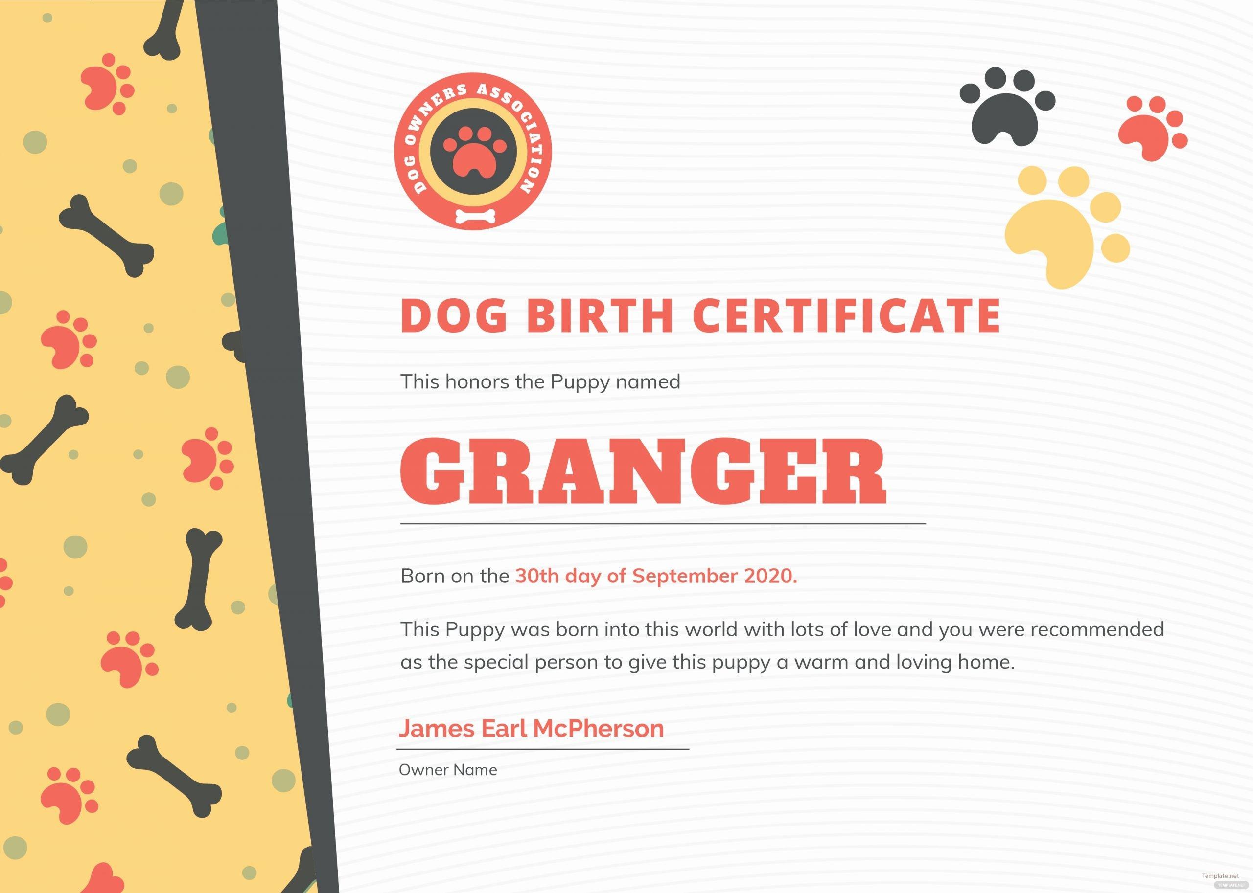 Dog Birth Certificate Template Unique Free Dog Birth Certificate Template In Adobe Shop