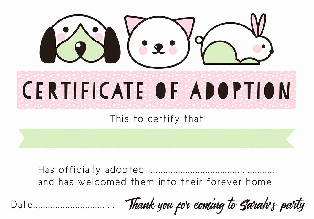 Dog Birth Certificates Printable Awesome Pet Rescue Party Pretend Adoption Certificate Pink