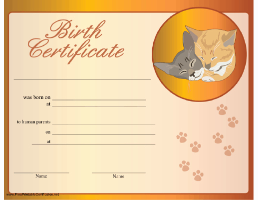 Dog Birth Certificates Printable Lovely A Birth Certificate for A Cat Honoring Its Adoption by