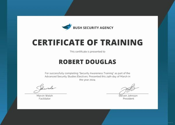 Dog Training Certificate Template Awesome 27 Training Certificate Templates Doc Psd Ai