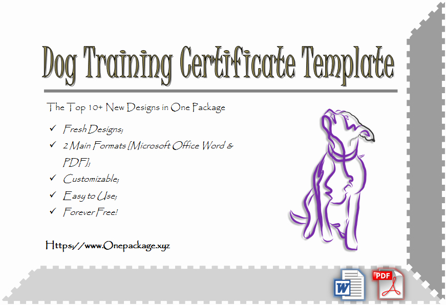 Dog Training Certificate Template Beautiful Pletion Certificates E Package