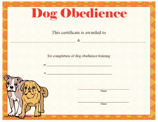 Dog Training Certificate Template Elegant This Printable Certificate Of Dog Training or Achievement