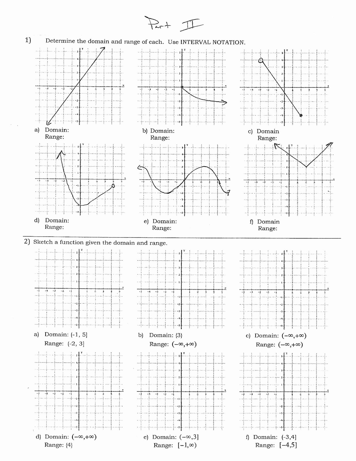 Domain and Range Graph Worksheet with Answers Best Of Mr Suominen S Math Homepage November 2012