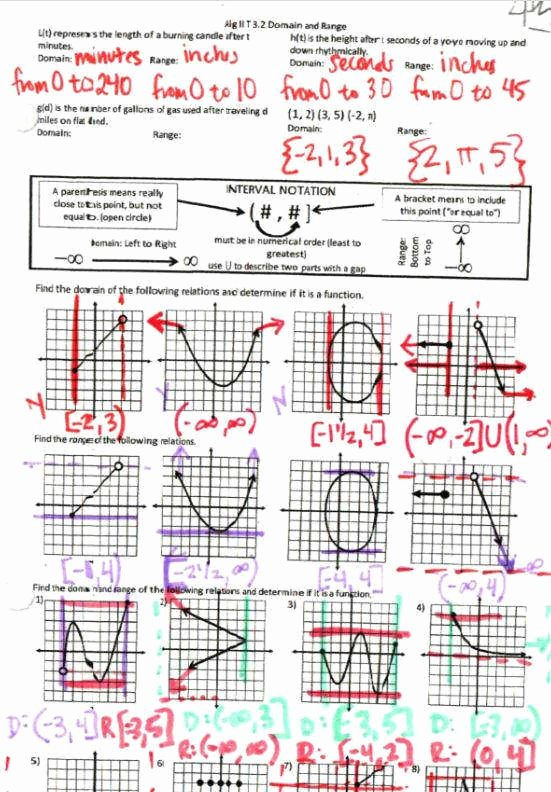 Domain and Range Graph Worksheet with Answers New Relations and Functions Worksheet