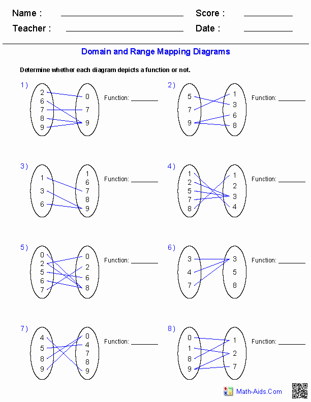 Domain and Range Of A Graph Worksheet Inspirational Algebra 1 Worksheets