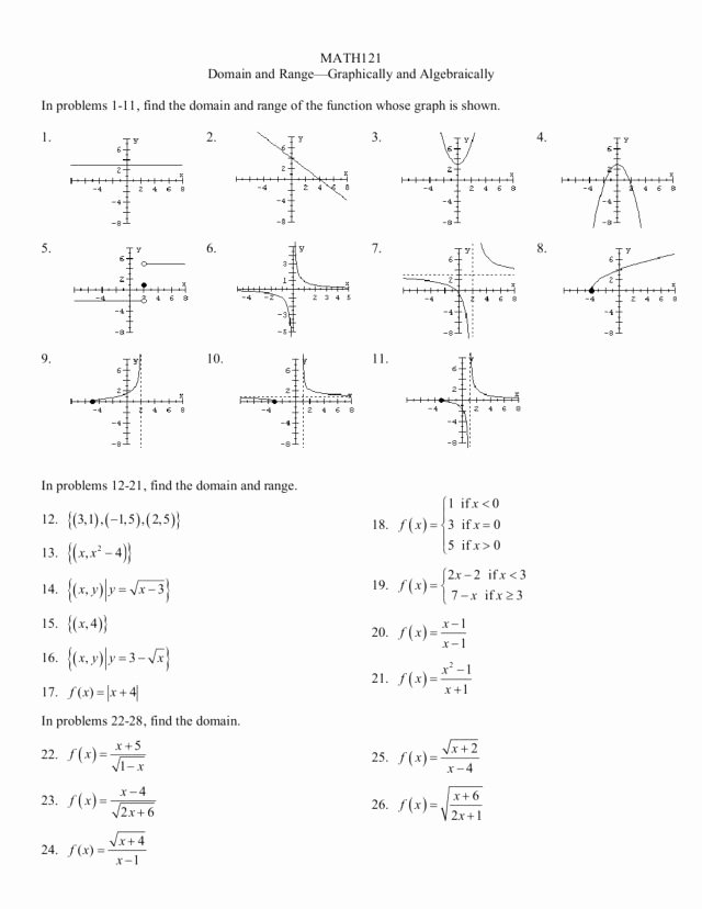 Domain and Range Of Graphs Worksheet Awesome Domain and Range Graphically and Algebraically Worksheet
