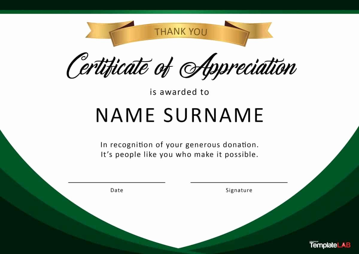 Donation Certificate Template Free Best Of 30 Free Certificate Of Appreciation Templates and Letters