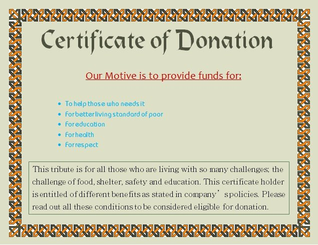 Donation Certificate Template Free Lovely Donation Certificate Template