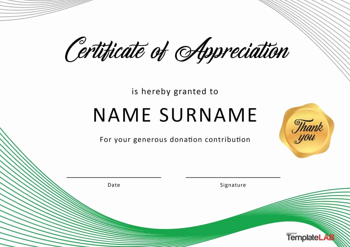 Donation Certificate Template Free Unique 30 Free Certificate Of Appreciation Templates and Letters