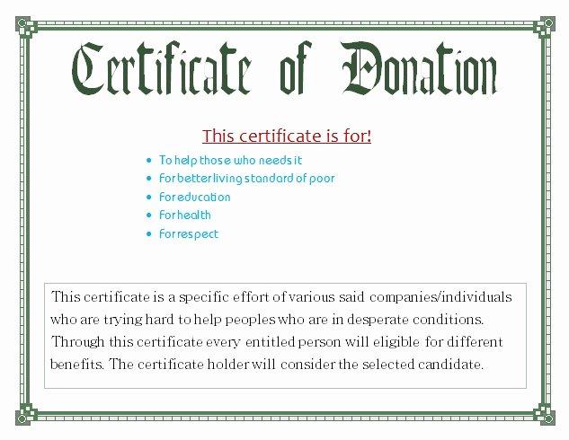 Donation Certificate Template Free Unique Donation Certificate Template