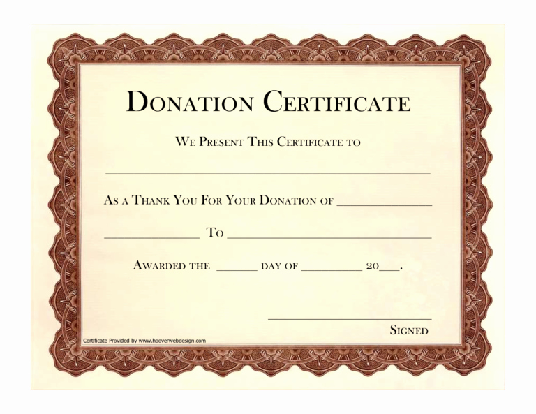 Donation Certificate Template Word Beautiful 10 Donation Certificate Templates