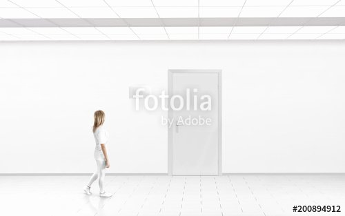 "Door Name Plate Template Elegant ""woman Stand Near Door with Blank Glass Name Plate Mockup"