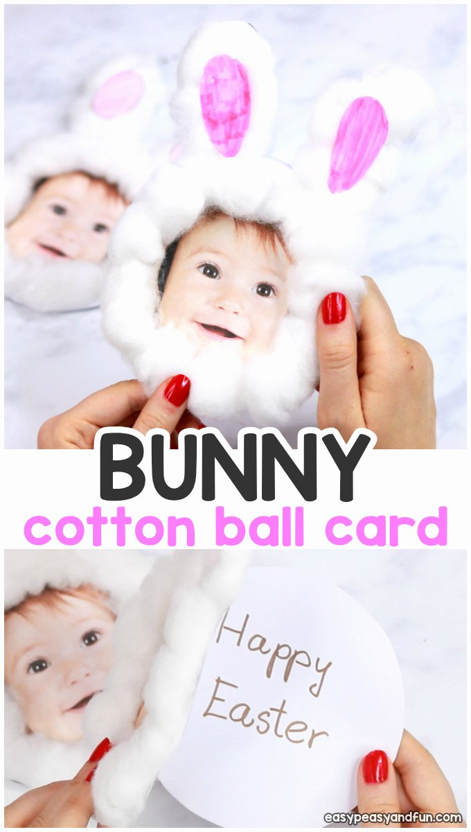 Easter Gift Certificate Template Lovely Cotton Ball Bunny Craft Diy Easter Card Easy Peasy and Fun