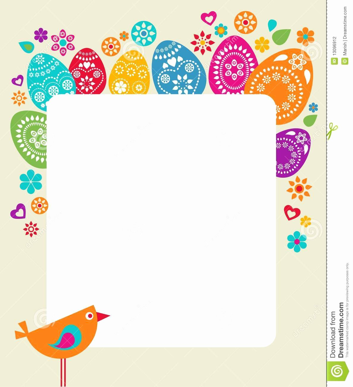 Easter Gift Certificate Template Unique Easter Card Template with Colored Eggs Stock Vector