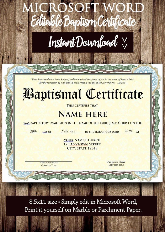 Editable Baptism Certificate In Word Best Of Baptism Certificate Template Microsoft Word Editable File
