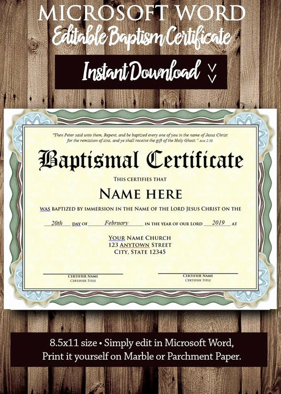 Editable Baptism Certificate In Word Lovely Baptism Certificate Template Microsoft Word Editable File