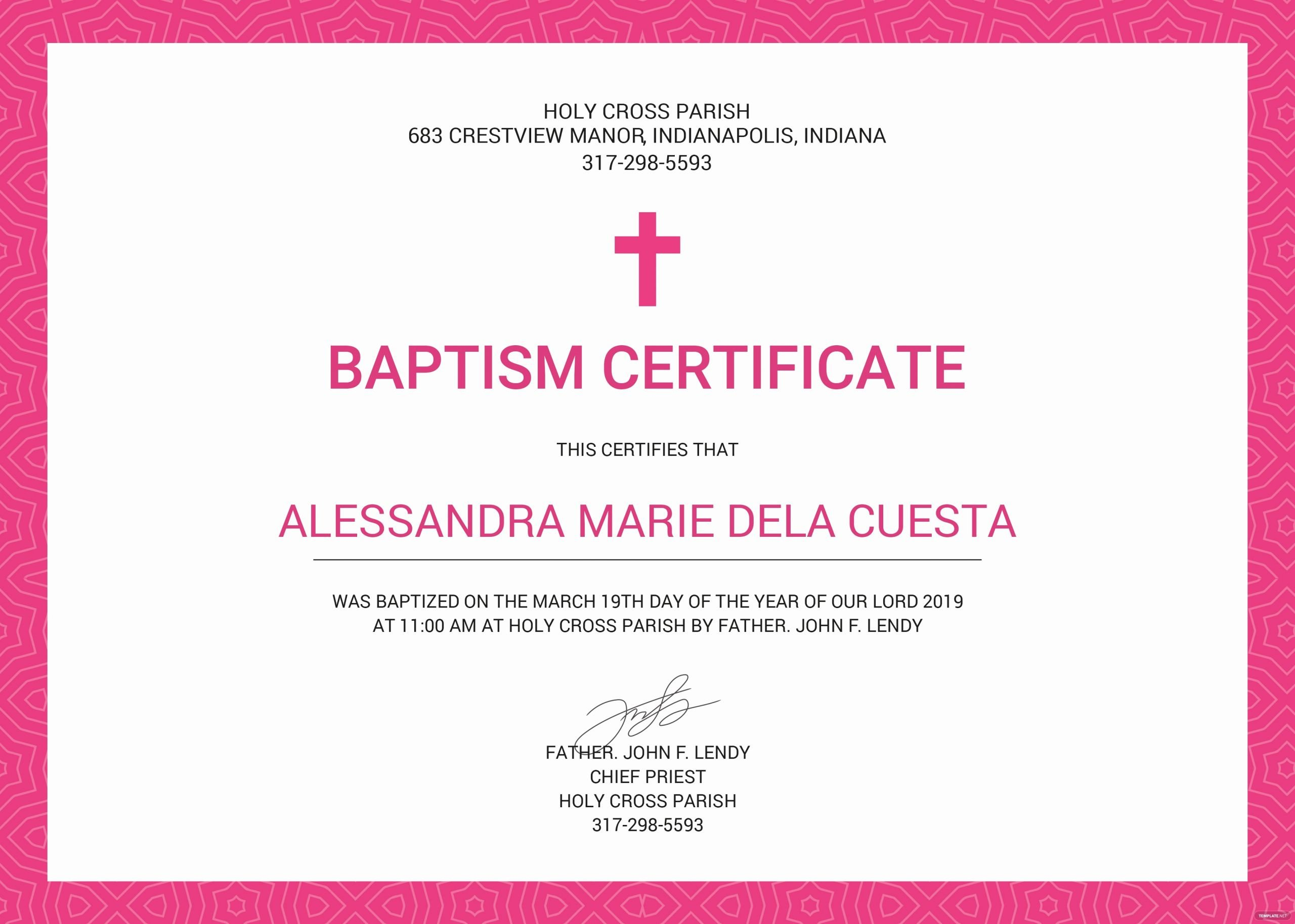Editable Baptism Certificate In Word Lovely Free Baptism Certificate Template In Psd Ms Word