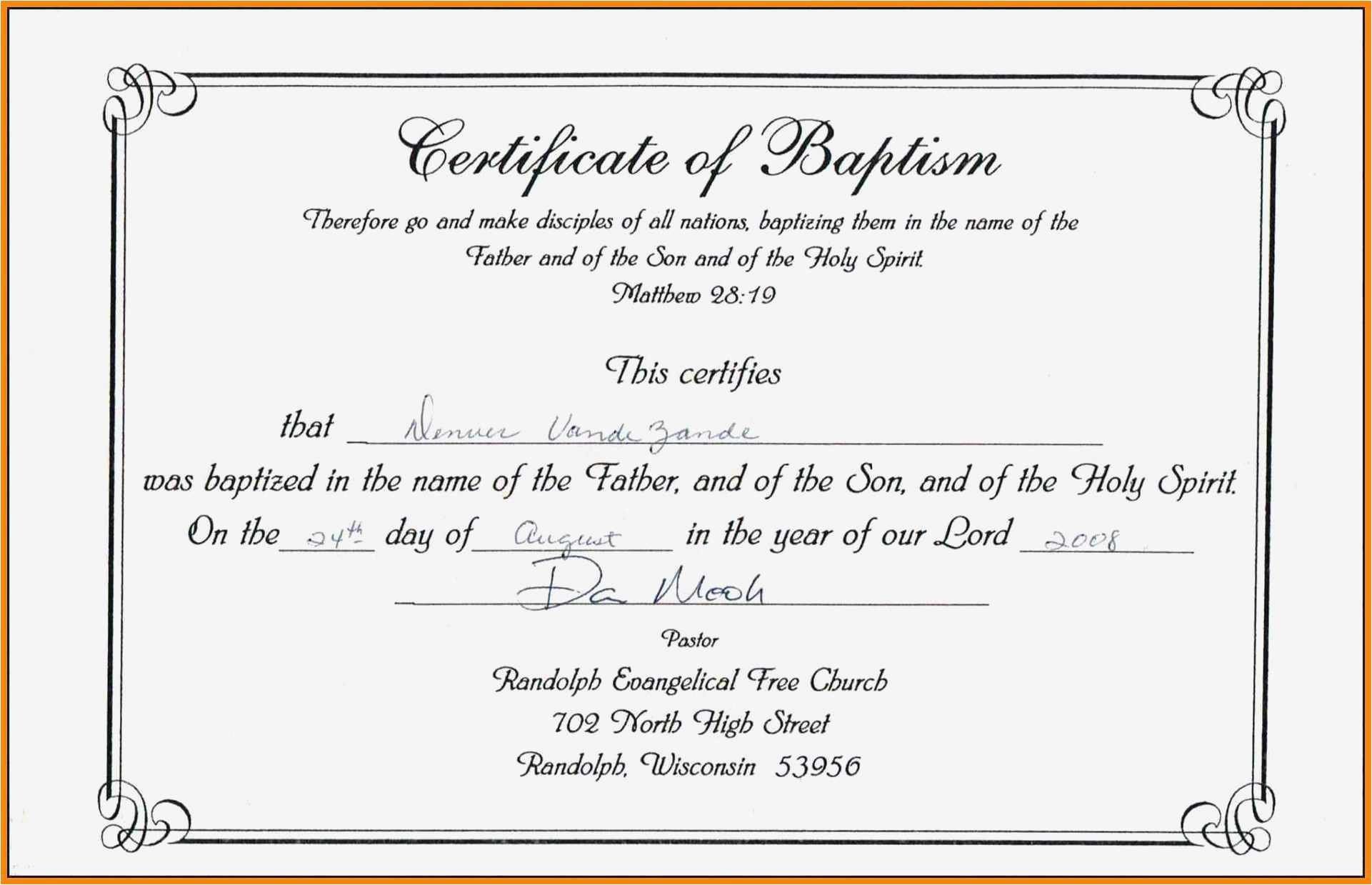 Editable Baptism Certificate In Word Luxury Free Collection 56 Baptism Certificate Template Download