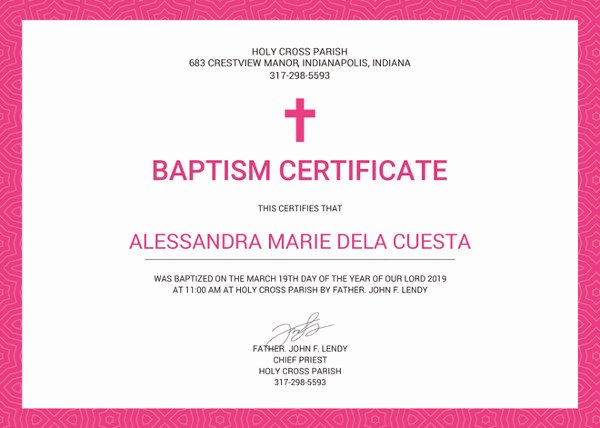 Editable Baptism Certificate In Word New 82 Free Printable Certificate Template Examples In Pdf