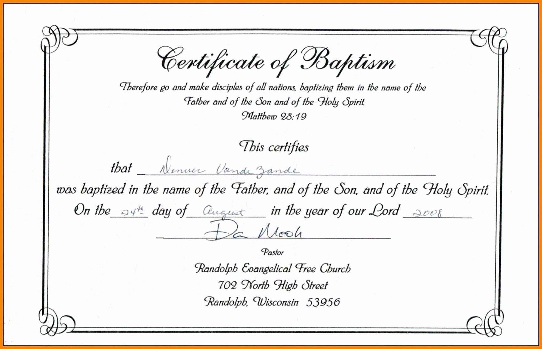 Editable Baptism Certificate In Word Unique Editable Baptism Certificate Template Publisher Download
