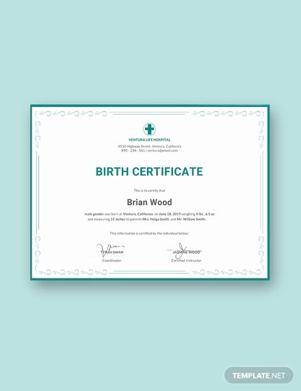 Editable Birth Certificate Template Beautiful Birth Certificate Template 38 Word Pdf Psd Ai