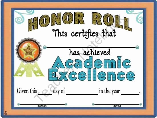 Editable Honor Roll Certificate Awesome Reward Your Students with This Certificate for Being On
