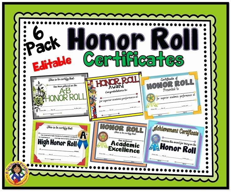 Editable Honor Roll Certificate Beautiful 6 Pack Honor Roll Certificates