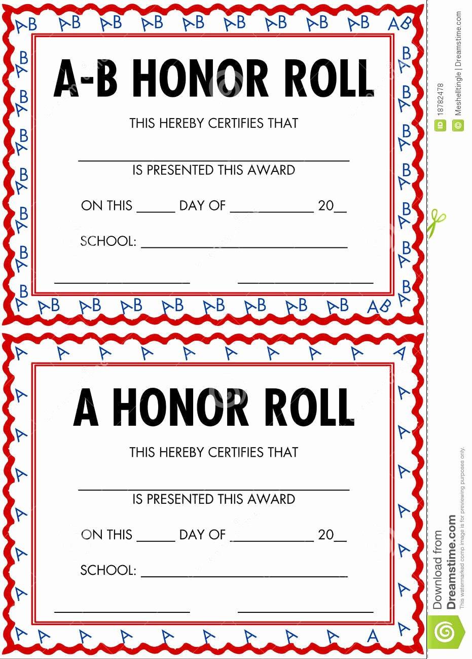 Editable Honor Roll Certificate Lovely Honor Roll Certificates Stock Vector Image Of Black