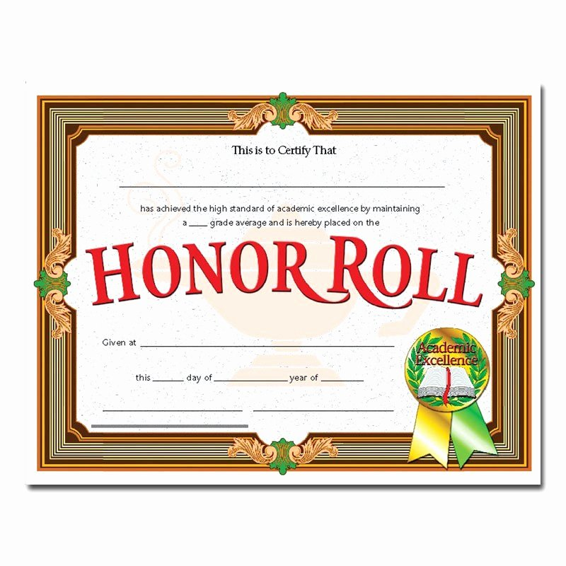 Editable Honor Roll Certificate Luxury 30 Editable Honor Roll Certificate
