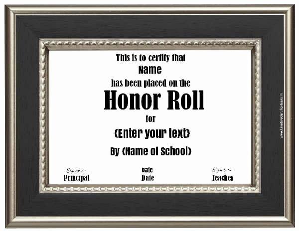 Editable Honor Roll Certificate Luxury Free Honor Roll Certificates Customize Line