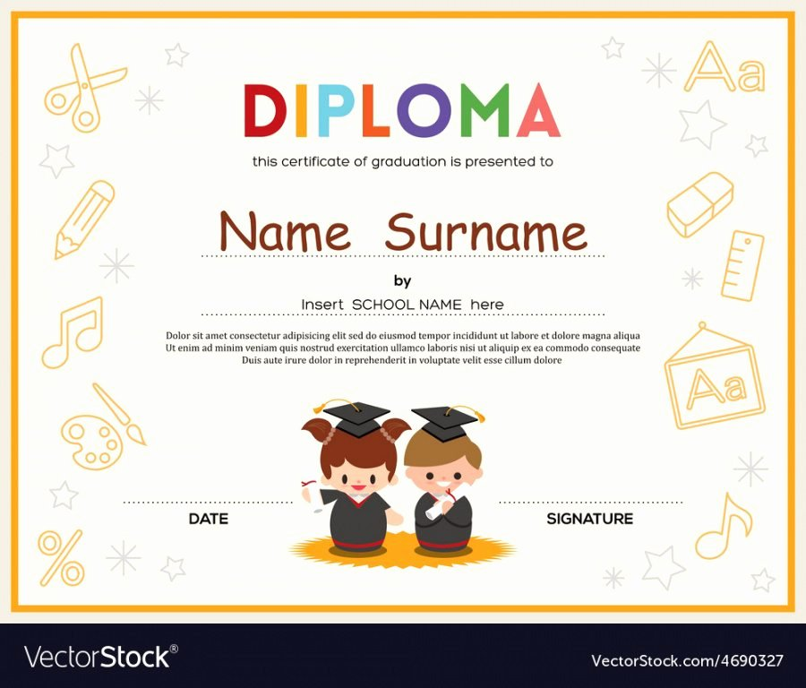 Editable Kindergarten Graduation Certificates Awesome Editable Preschool Kids Diploma Certificate Template