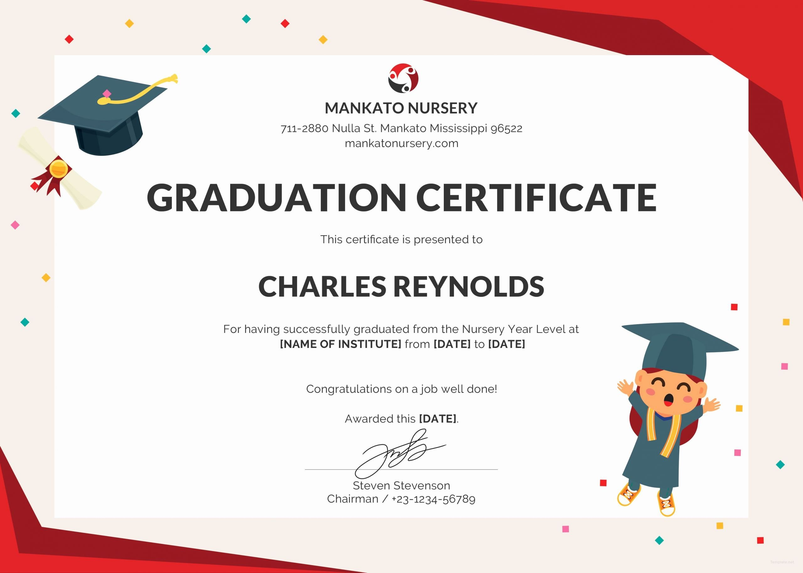 Editable Kindergarten Graduation Certificates Beautiful Free Nursery Graduation Certificate