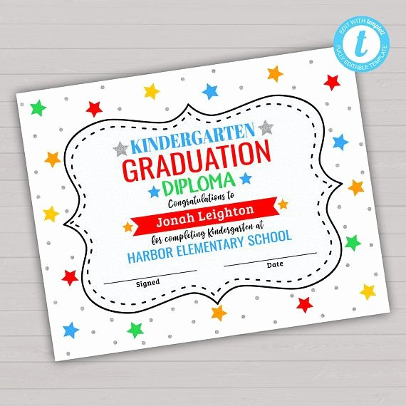 Editable Kindergarten Graduation Certificates Elegant Graduation Diploma Editable Template Kindergarten