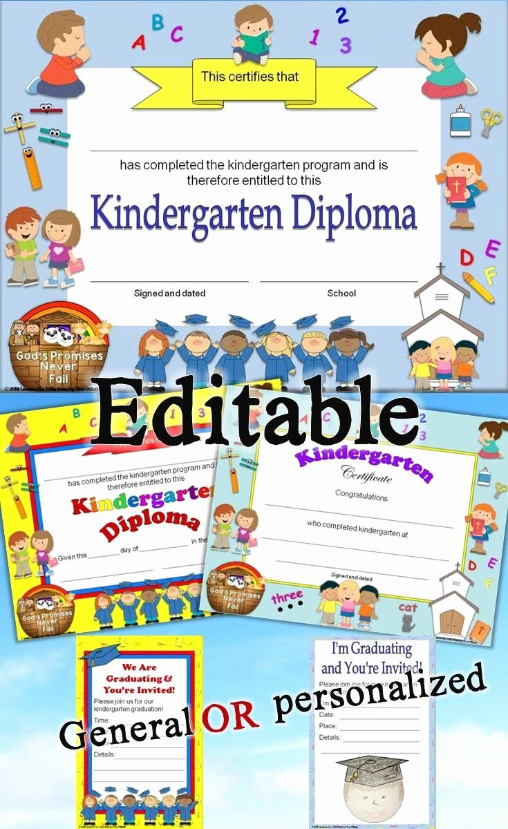 Editable Kindergarten Graduation Certificates Elegant Kindergarten Diplomas Graduation Invitations Editable